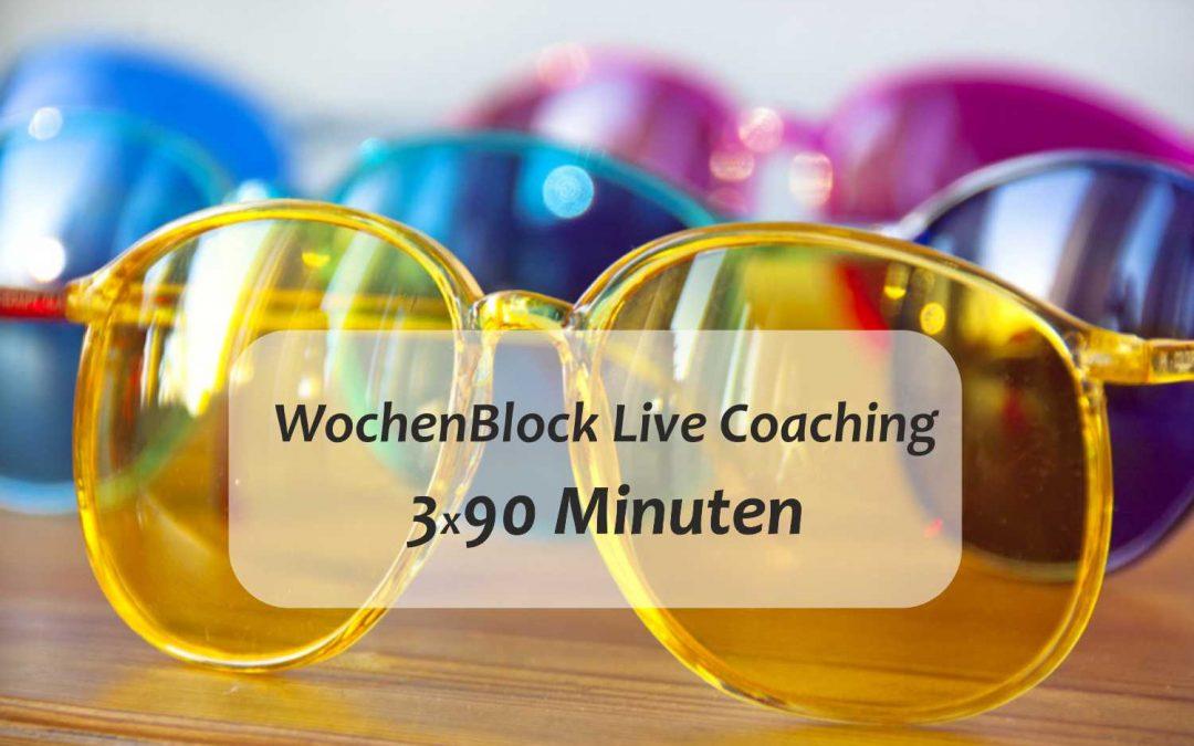 Live-Coaching 1-WochenBlock 3×90 Minuten